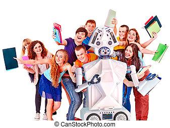 グループ, ai, 知性, ロボット, 人工, 生徒, 助け, 勉強, オンラインで, 教師, 対話型である