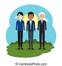 グループ, avatars, 風景, ビジネスマン