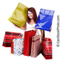 グループ, bag., 女の子, 買い物