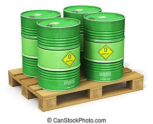グループ, biofuel, 隔離された, 出荷, パレット, 緑, ドラム, 白