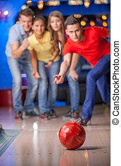 グループ, bowling., ボウリング, 楽しみ, 友人, 持つこと, 幸せ