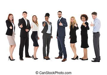 グループ, businesspeople, の上, 多人種である, 親指, ジェスチャーで表現する