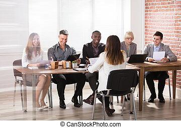 グループ, businesspeople, オフィス