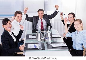 グループ, businesspeople, 幸せ
