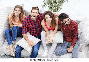 グループ, couch., 朗らかである, 笑い, 友人