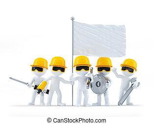 グループ, flag., workers/builders, 隔離された, 建設, 背景, ブランク, 白, 道具