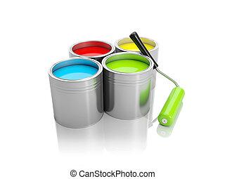 グループ, illustration:, ペンキの 缶, ローラー, 3d