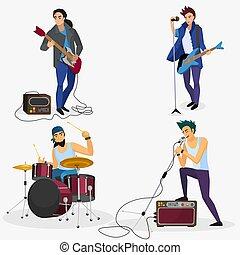 グループ, illustration., 歌手, isolated., ミュージカル, ギター, バンド, プレーヤー, ベクトル, メンバー, 岩, ドラマー, 漫画