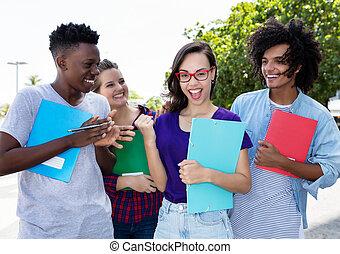 グループ, internternational, 生徒, 元気づけること, 学生, nerdy