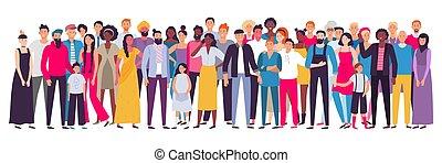 グループ, multiethnic, 社会, 人々, citizens., 人々。, multicultural, イラスト, 年長者, 若い, ベクトル, 共同体, 肖像画, 成人