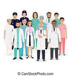 グループ, staff., banner., 看護婦, 医療補助員, 医学, icons., team., 医者, 特徴, 薬, 病院