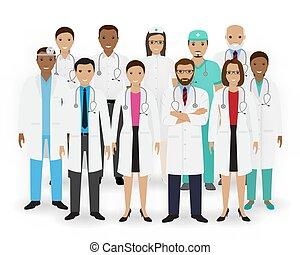 グループ, staff., banner., 看護婦, 医療補助員, 医学, icons., team., 医者, 薬, 病院