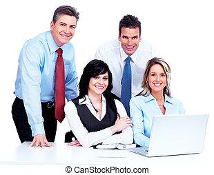 グループ, working., ビジネス 人々