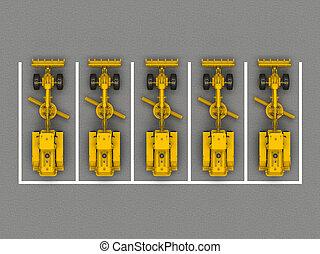グレーダー, 駐車, グループ