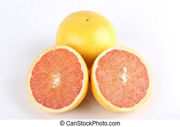 グレープフルーツ, 新たに, 背景, 隔離された, 白