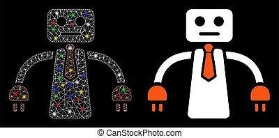 グロッシー, ライト, 点, 噛み合いなさい, 2d, ロボット, アイコン, 上司