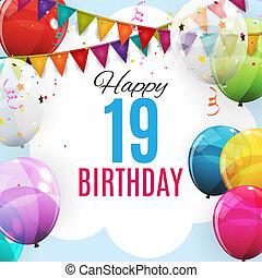グロッシー, 風船, かわいい, 年, テンプレート, グループ, ヘリウム, 19, anniversary., 色, イラスト, バックグラウンド。