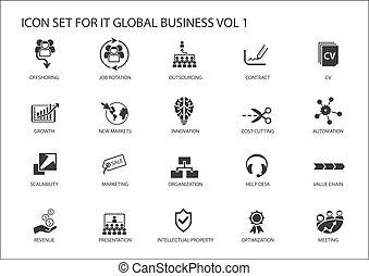 グローバルなビジネス, ベクトル, アイコン, セット