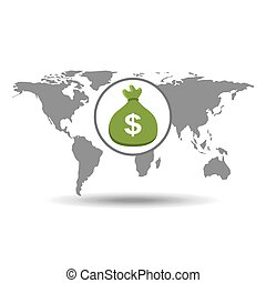 グローバルなビジネス, 袋, お金, 概念, アイコン