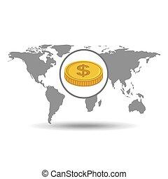 グローバルなビジネス, 通貨, 概念, アイコン