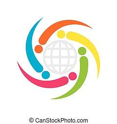グローバルなビジネス, 関係, アイコン