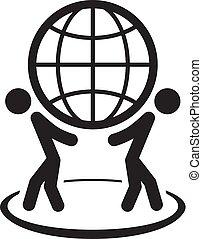 グローバルなビジネス, icon., 平ら, design.