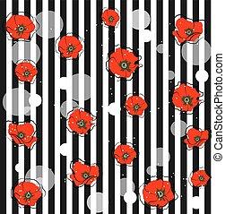 ケシ, 抽象的, 花, 赤