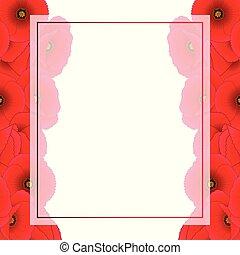 ケシ, 旗, トウモロコシ, カード, ボーダー, 赤