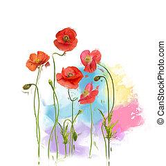ケシ, 花, 絵