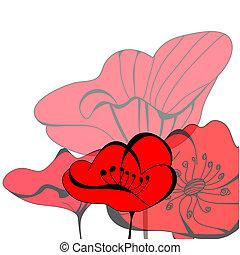 ケシ, 花, 赤
