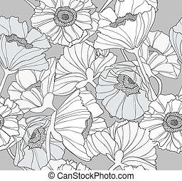 ケシ, 花, seamles, パターン