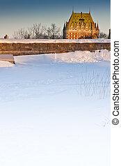 ケベック 都市, 城, 冬, frontenac