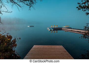 ケベック, lac-superieur, ドック, カナダ, mont-tremblant