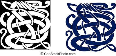 ケルト族の記号, 偉人, 複合センター, vector., tattoo.