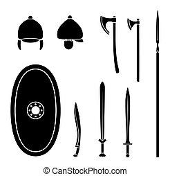 ケルト, 古代武器, equipment., セット, 保護である
