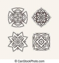 ケルト, symbols., セット, レース, corners., ベクトル, gothic, シャープ, mandala, tattoo., はたを織りなさい