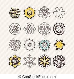 ケルト, symbols., セット, レース, corners., ベクトル, gothic, 華やか, シャープ, mandala, tattoo., はたを織りなさい