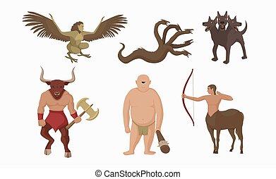 ケンタウロス, ax., minotaur, mythological, 特徴, 古代, ギリシャ語, greece., 生きもの, 戦い, 神話である, 弓
