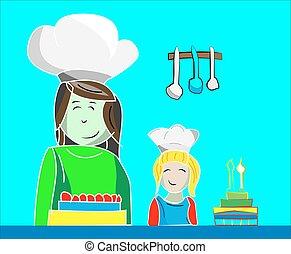 ケーキを作る, 娘, お母さん, イラスト