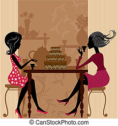 ケーキ, お茶, カフェ