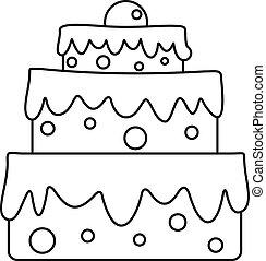 ケーキ, アイコン, スタイル, celebratory, アウトライン