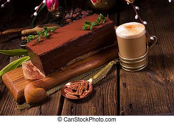ケーキ, カプチーノ, チョコレート