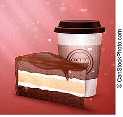 ケーキ, コーヒー, チョコレート, 味が良い, カップ