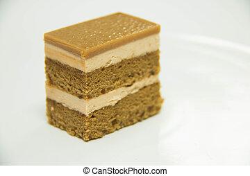 ケーキ, コーヒー, 白, ground., 背中