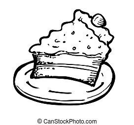 ケーキ, チーズ, いたずら書き