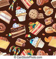 ケーキ, パターン, キャンデー, seamless, 甘いもの, ベクトル