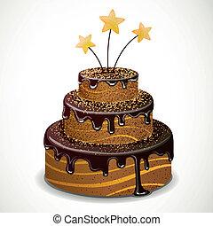 ケーキ, ベクトル, チョコレート