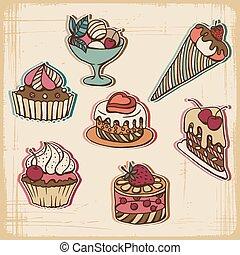 ケーキ, ベクトル, レトロ, イラスト, style.