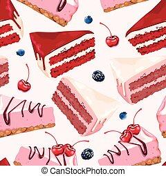 ケーキ, ベクトル, seamless, 背景