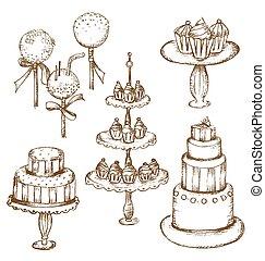 ケーキ, ポンとはじける, cupcakes, ケーキ